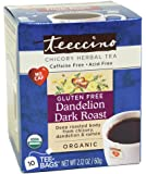 Teeccino Organic Dandelion Dark Roast Chicory Herbal Tea Bags, Gluten Free, Caffeine free, Acid Free, 10 Count (Pack of 4)