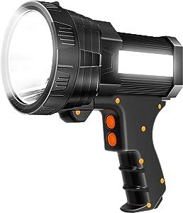 Super Bright Spotlight 6000 Lumen LED Flashlight Handheld Rechargeable Spot light 9600mAh Long Lasting Large Torchlight Searchlight and Floodlight Fishing Hiking Camping Flashlight USB Output (Black)