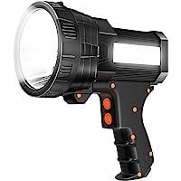 Super Bright Spotlight 6000 Lumen LED Flashlight Handheld Rechargeable Spot light 9600mAh Long Lasting Large Torchlight…