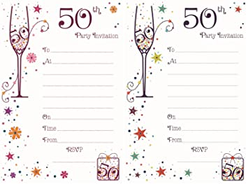 50th birthday party invitations pack of 20 with envelopes 50th birthday party invitations pack of 20 with envelopes hambledon filmwisefo Gallery