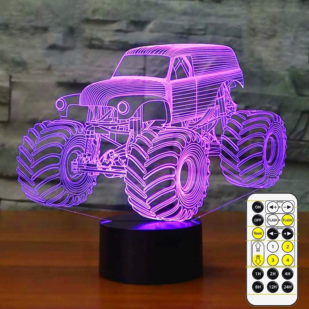 Night Lights for Kids Monster truck Lamp 3D Night Light Bedside Lamp 7 Colors Changing with Remote Control Best Birthday Gifts for Boys Girls Kids Baby (Monster Truck)