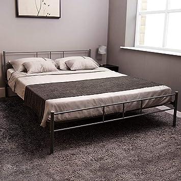 King Size Bed.Home Discount Dorset King Size Bed Frame 5ft Metal Bed Frame Bedroom Furniture Silver