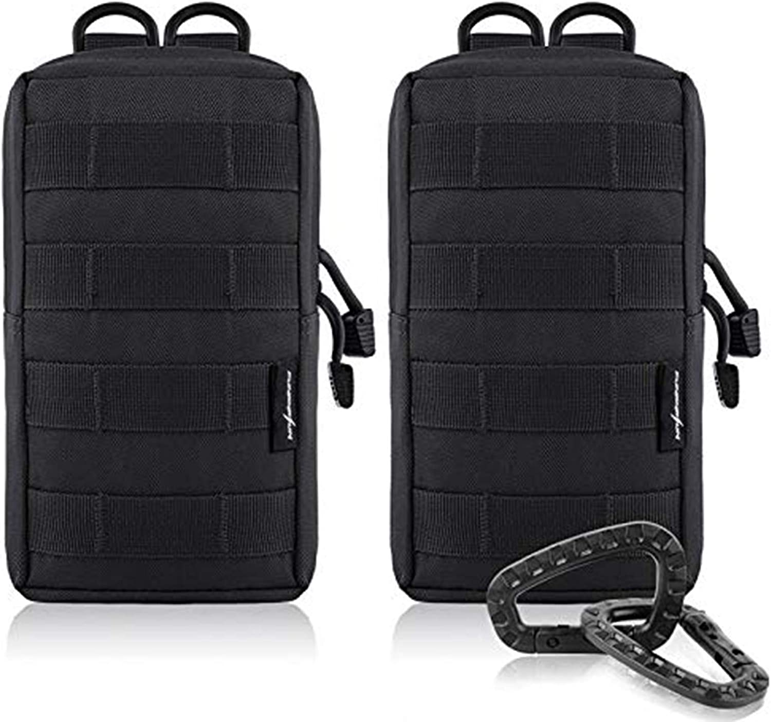 FUNANASUN 2 Pack Molle Pouches Tactical Compact Water Resistant EDC Pouch (Black) : Sports & Outdoors