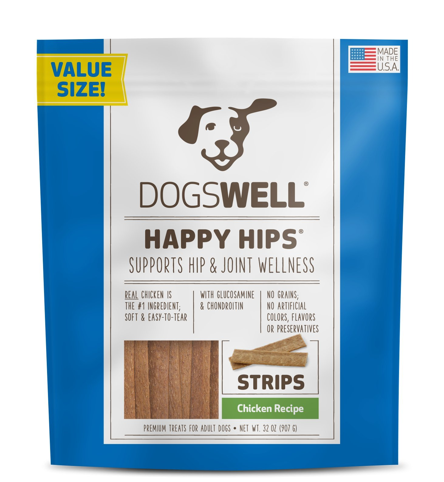 Dogswell Happy Hips Dog Treats, Chicken Flavor, 32 Ounce