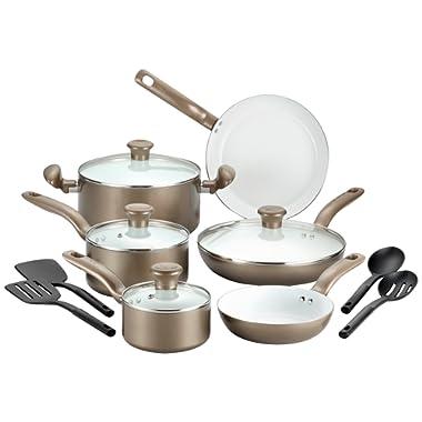 T-fal Ceramic Cookware Set, Nonstick Cookware Set, 14 Piece, Gold