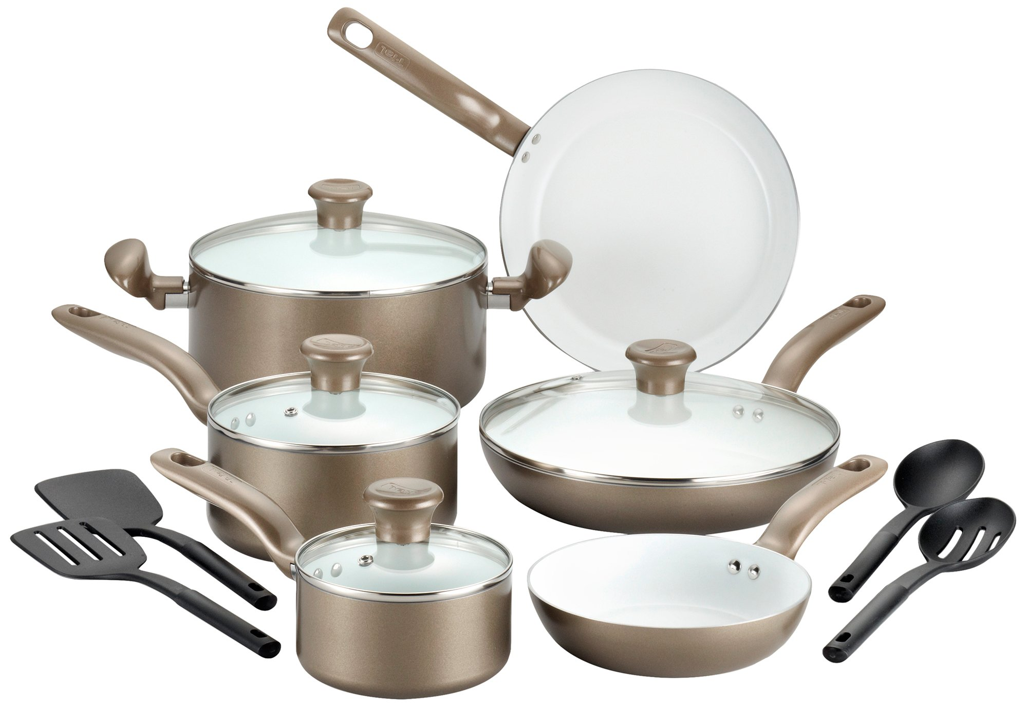T-fal Ceramic Cookware Set, Nonstick Cookware Set, 14 Piece, Gold