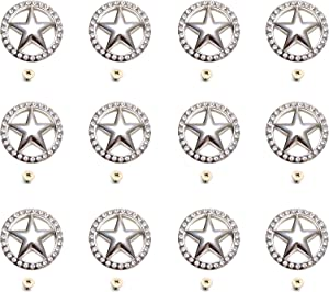 DIY Leathercraft Accessories Conchos Button Bling Conchos with Screw (Star, 12 PCS)