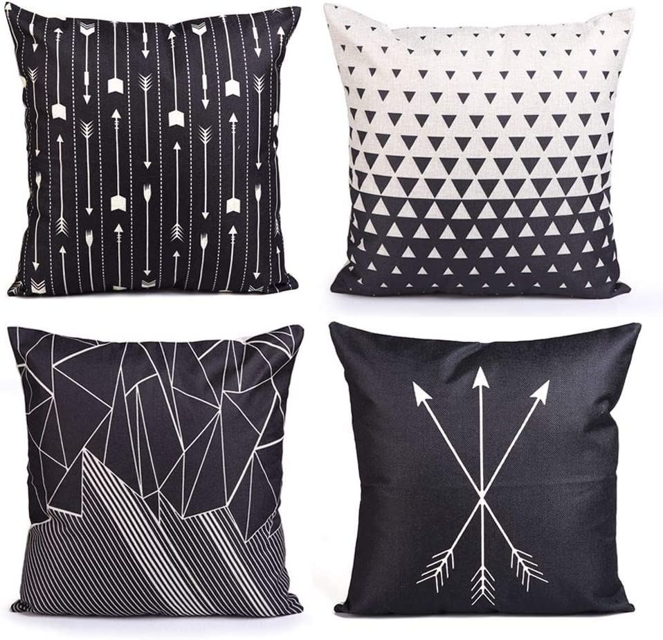 Set Of 4 Throw Pillow Covers Modern Abstract Red Stripes Gray Black White