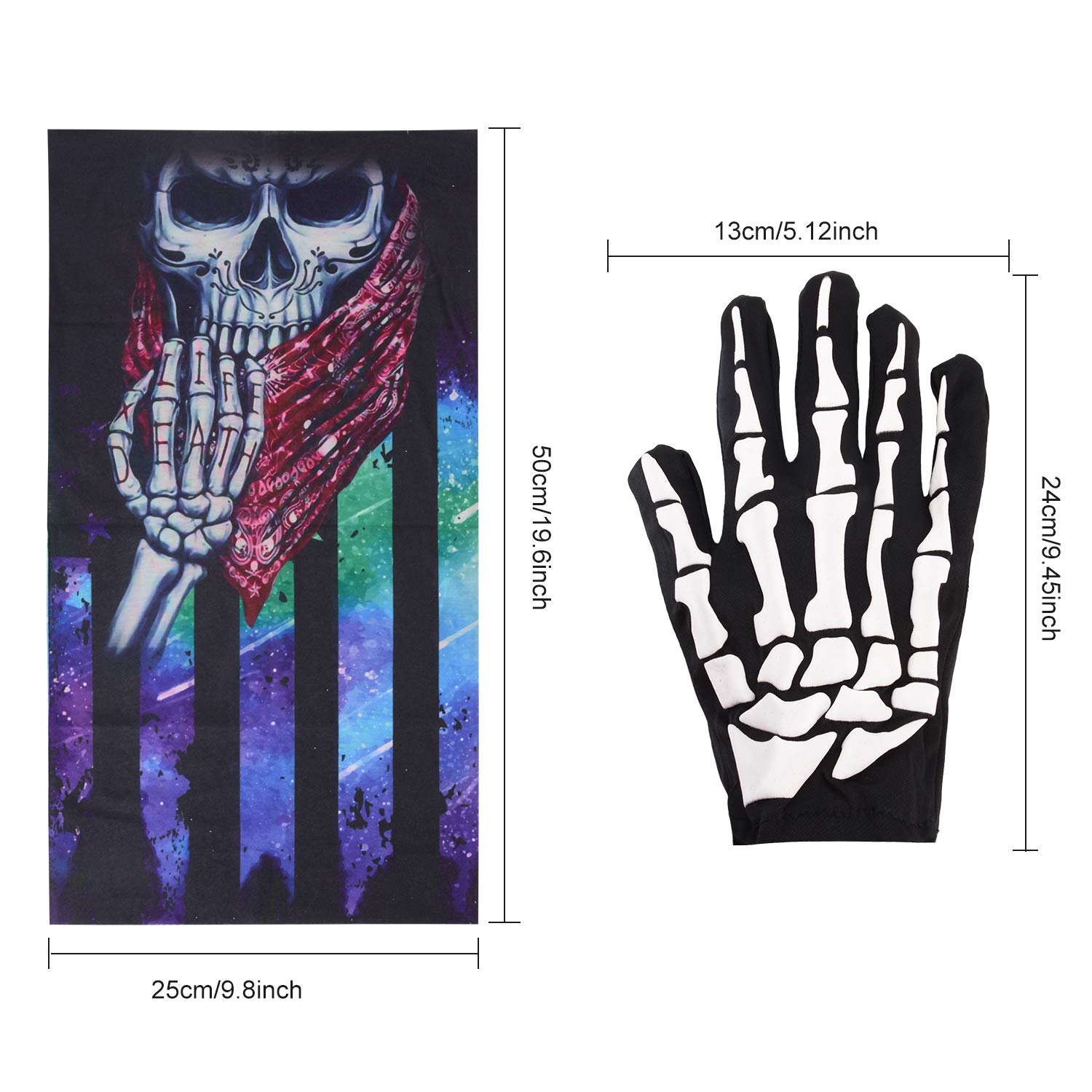 ZOYLINK 2 Pares de Guantes de Halloween Scary Skeleton Novelty Gloves con 2 mascarillas de Ciclismo