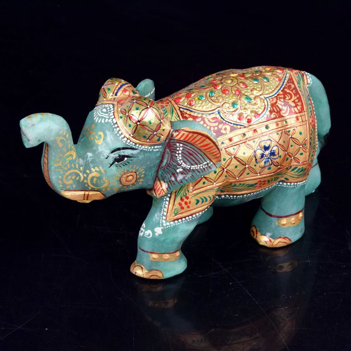 Gemhub Approximately 5469.5 Ct Natural Gold Work Green Jade Elephant Figurine Statue V-4425