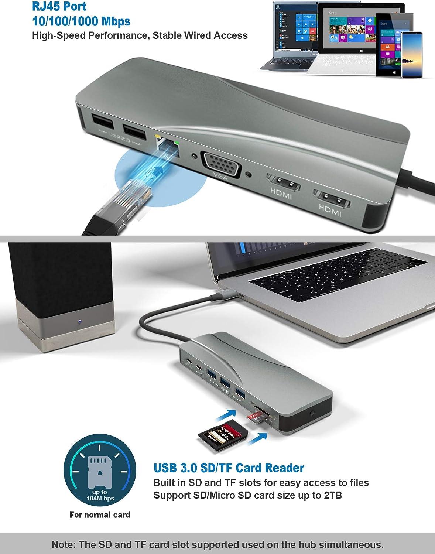 SD//TF Card Reader HUB with Hidden Phone Holder PEISHI QIX Multi-Functional USB-C//Type-C to 3 X USB 3.0 Black Black
