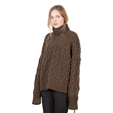 c7f443e7a Pullover Sweater Jumper Turtleneck Pattern Aztec Woman - 90% Merino 10%  Cashmere Color Brown  Amazon.co.uk  Clothing