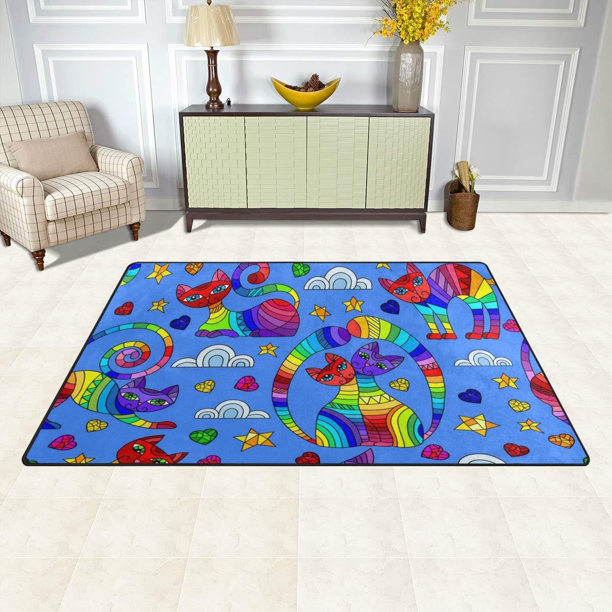 Jiayangzi Cats Stars Hearts Area Rug Non-Slip Backing Floor Carpet Modern Geometric Rugs Home Decorator Indoor Outdoor Floor Runner Accent Mat for Living Room Bedroom Kids Room 60x39 in