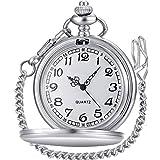 LYMFHCH Classic Smooth Vintage Quartz Pocket Watch, Arabic Numerals Scale Mens Womens Watch with Chain Christmas Graduation B