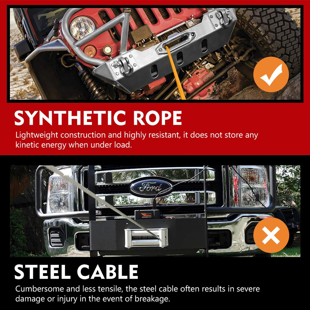 Synthetic Winch Rope 3//8 x 100-23,809 Ibs Winch Line Cable Rope for 4WD Off Road Vehicle JEEP SUV 1 Year Warranty Black