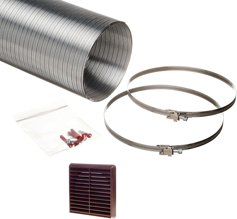 Universal NaplesUK 150 mm para campana extractora Kit de canalización aluminio semirrígido 152 mm diámetro interno manguera longitud 1,5 Metre marrón rejilla: Amazon.es: Bricolaje y herramientas