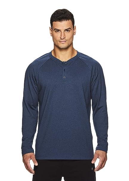 d3907207db Gaiam Men's Long Sleeve Henley T Shirt - Yoga & Workout Activewear Top -  Longevity Blue