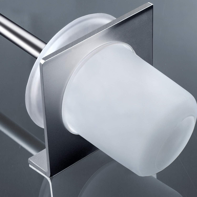 hblife Escobilla Baño y Portaescobilla de Inodoro Fijar Sin Taladrar Pegamento 3M + Autoadhesivo 3M Alumini: Amazon.es: Hogar