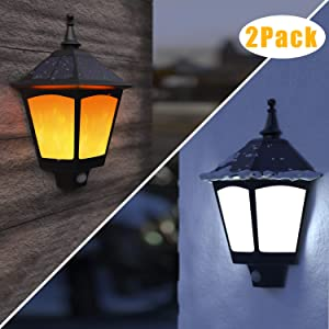 Solar Lights Outdoor Decorative, 2 in 1 Motion Sensor Solar Wall Lights Outdoor, Solar Sconces with Flickering Flame,Wireless Waterproof Wall Mounted Solar Lights for Porch(2 Pack)