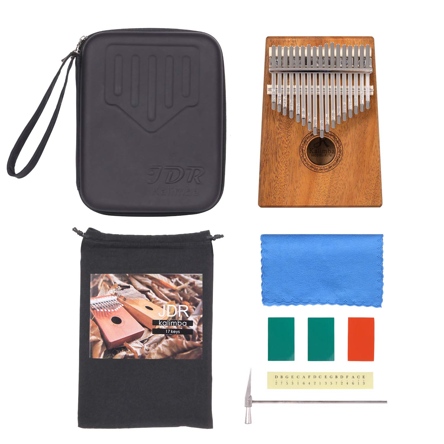 JDR 17 Keys kalimba, Thumb Piano with EVA Waterproof Hard Protective Case, Tuning Hammer and Music book, Unique and great birthday gift for musicians or kids without any musical basis by JDR