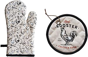COOP Country Red Rooster Chicken Farm Oven Mitt & Pot Holder Set