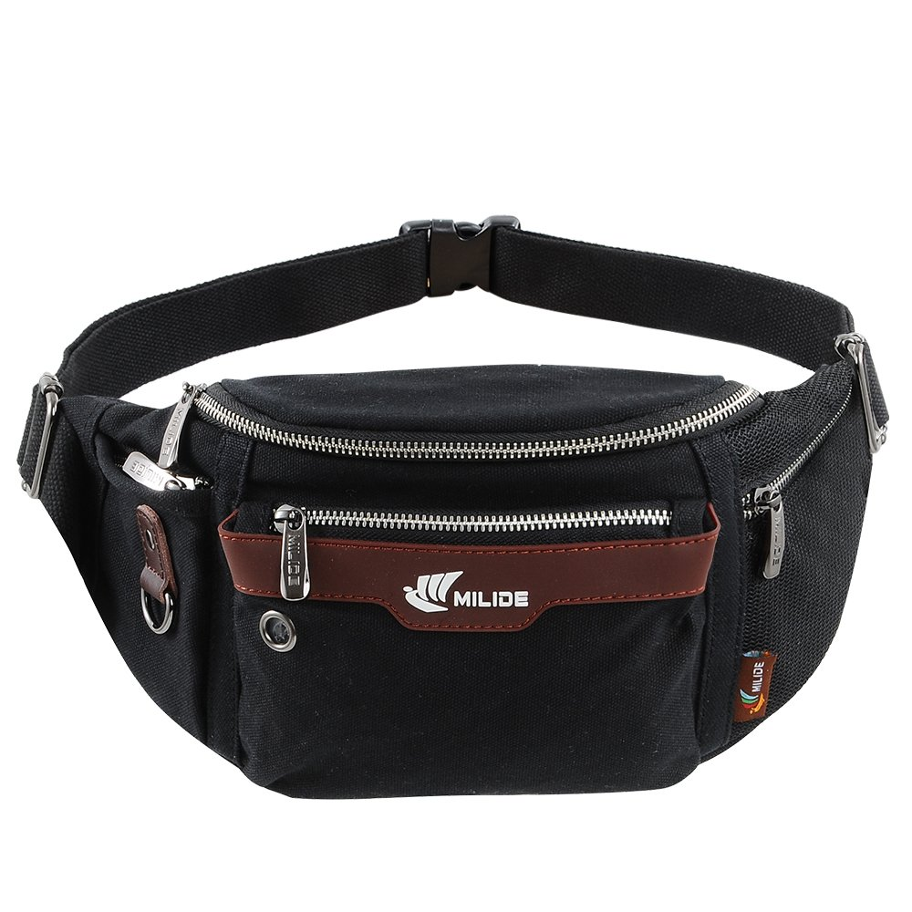 MILIDE Running Waist Pack For Men & Women | Adjustable Buckles, Waterproof Canvas, Zippered Pockets & Carabiner | Athletic Training, Sports, Hiking Fanny Pack Belt | For Bottles, Money, iPhone & More