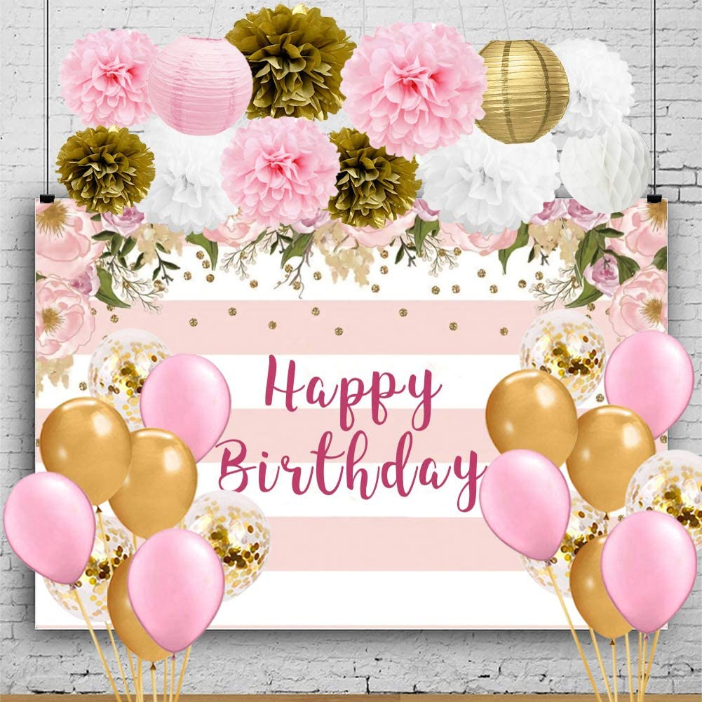 Amazon Com Happyfield Pink Gold Birthday Decorations Pink Gold Birthday Party Supplies Happy Birthday Backdrop For Girls Women Tissue Decorations Balloons Happy 16th 18th 20th 21st 30th Birthday Decorations Health Personal Care