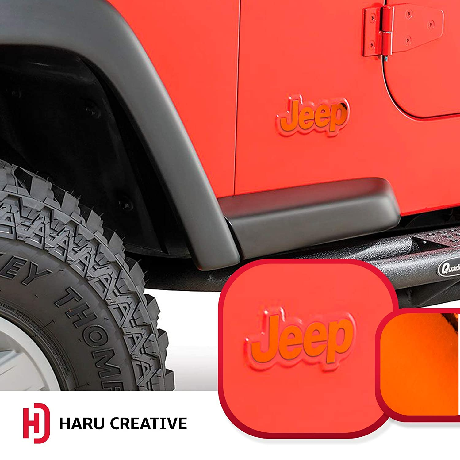 Haru Creative Fender Side Door Emblem Letter Overlay Vinyl Decal Sticker Compatible with and Fits Jeep Wrangler CL YJ 1976-1995 Chrome Red