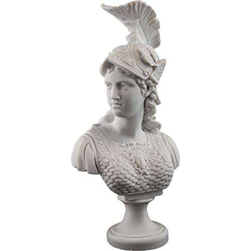 Top Collection Greek Goddess Athena Bust Statue – Daughter of Zeus Roman Sculpture in White Marble Finish- Goddess of War, Wisdom, and Justice- 13.5-Inch Figurine