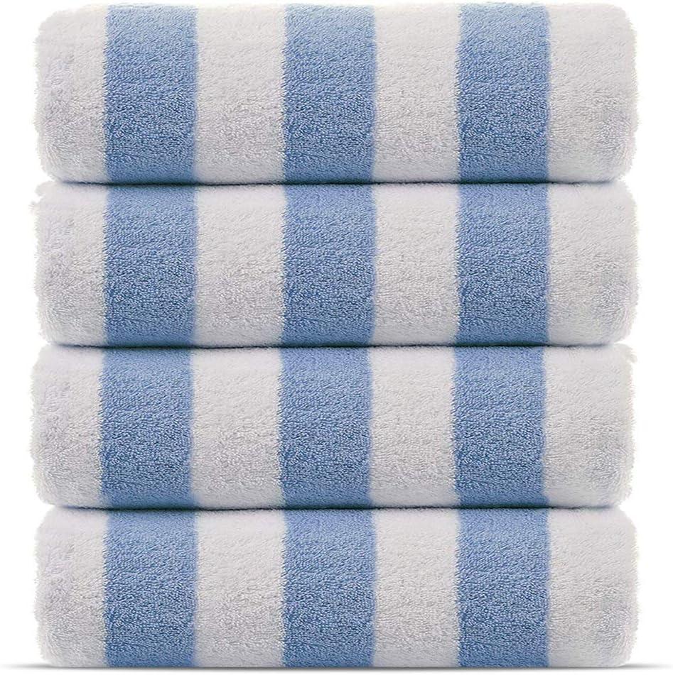 Eco-Friendly Salmon, 30x60 Inch Premium Quality 100/% Turkish Cotton Cabana Thick Stripe 4-Pack Pool Beach Towels
