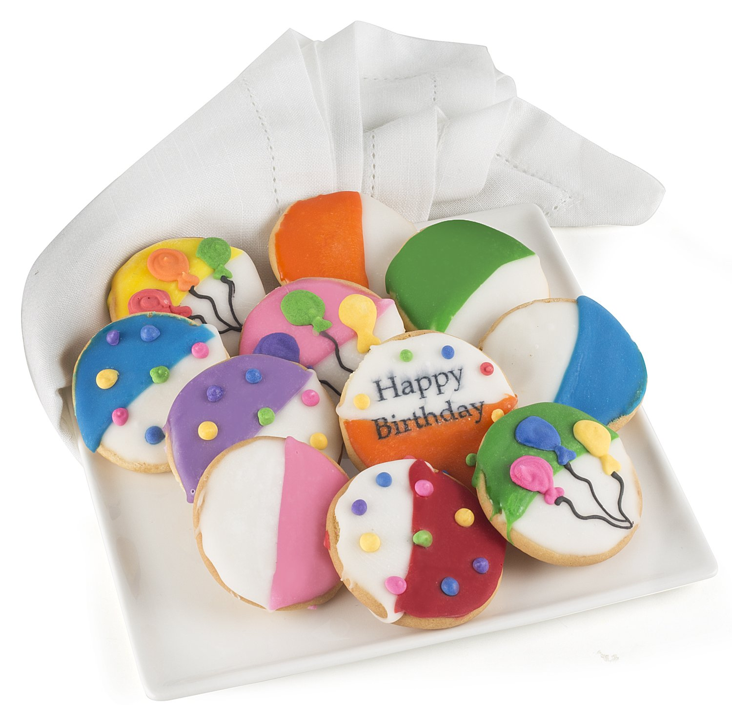 Happy Birthday Gift Basket Tin Filled With 21 Individually Hand Decorated Assorted Colored Black And Whites 7 Bright Colors Great Idea For