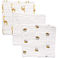 Anvi Baby Muslin Face & Burp Cloth- 100% Organic Cotton Set of 3 Yellow Creatures