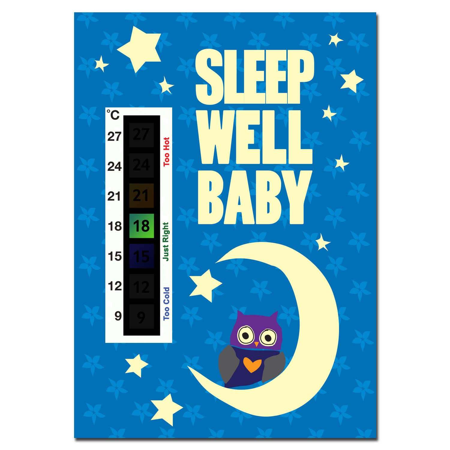 Sleep Well Baby Baby Owl, Moon & Stars Nursery Room Safety Temperature Thermometer Monitor Good Life Innovations