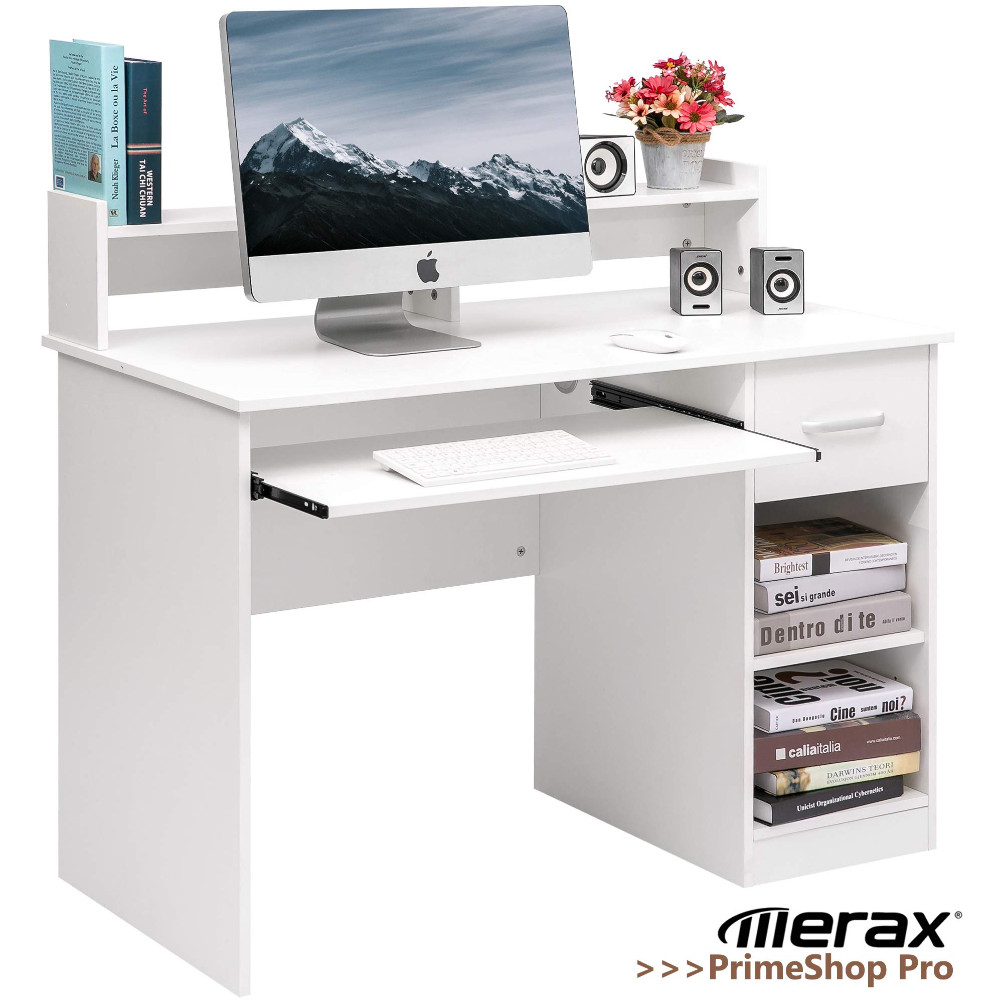 Merax Home Office Desk Computer Desk Wooden PC Laptop Desk Modern Writing Table Wood Study Workstation with Storage Drawer (White(w/Drawer)) by Merax