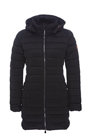 2d82b6da3401 Save The Duck Women's Long Stretch Coat Black 4 at Amazon Women's Coats Shop