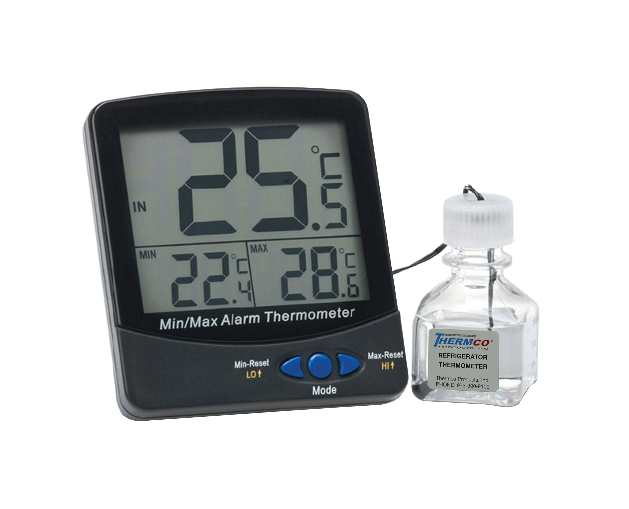Thermco ACC895FRE Large Digit Triple Display 30ml Bottle Digital Thermometer, Freezers Application, -50 to 70°C Range