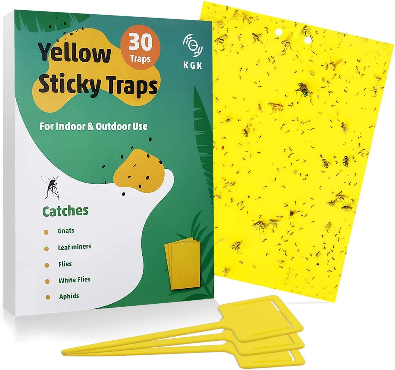KGK Sticky Traps - 30 Pack, Dual-Sided Yellow Sticky Traps for Fungus Gnats, Aphids, and Other Flying Plant Insects - 6x8 Inches (Twist Ties and Holders Included)