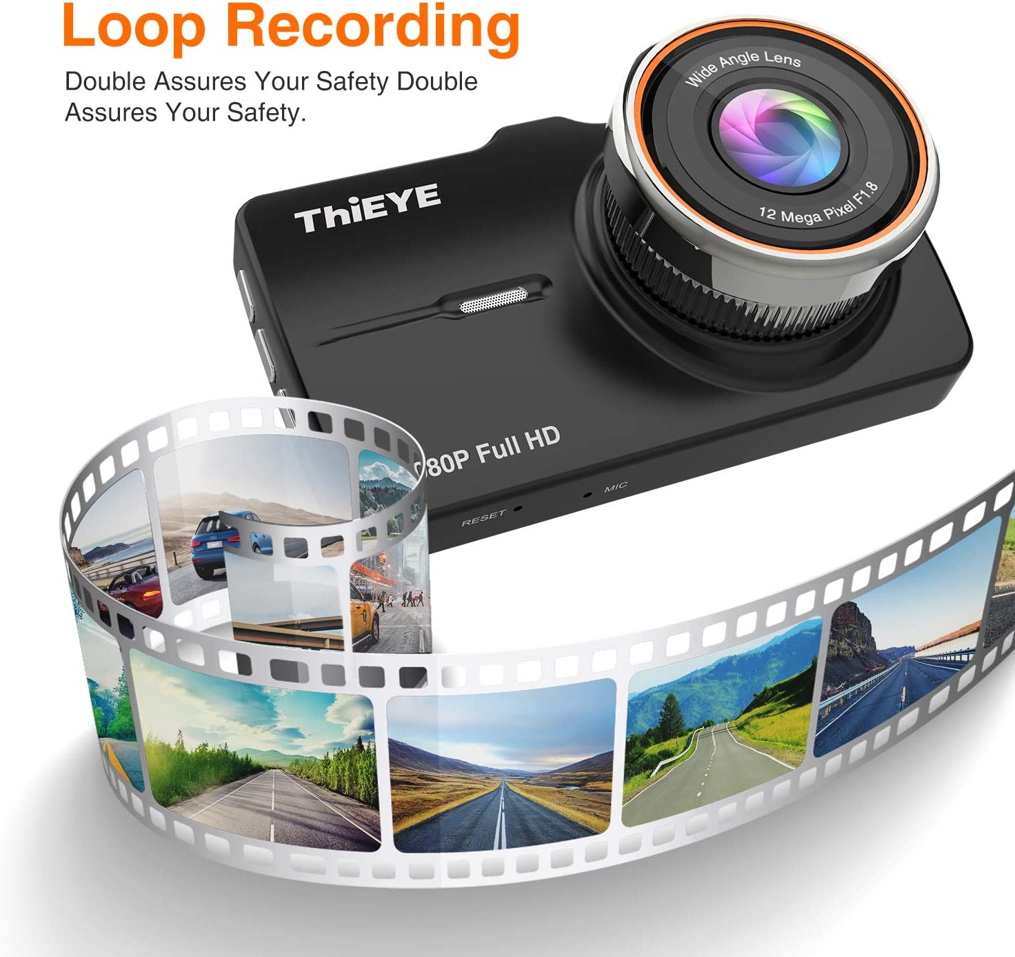 """G-Sensor ThiEYE Dash Cam Front and Rear Car Camera Dual Dashcam FHD 1080P 3.2/"""" IPS Screen with SD Card 170/°Wide Angle WDR,Night Vision Loop Recording"""