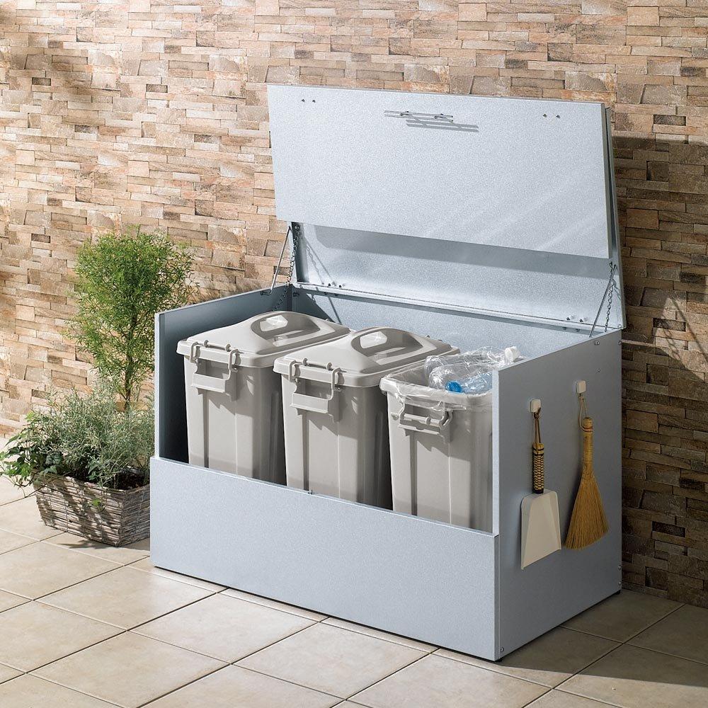 大きく開くガルバ製ゴミ保管庫 幅100奥行55cm ペール3個付き 517014 B0794V9KLP