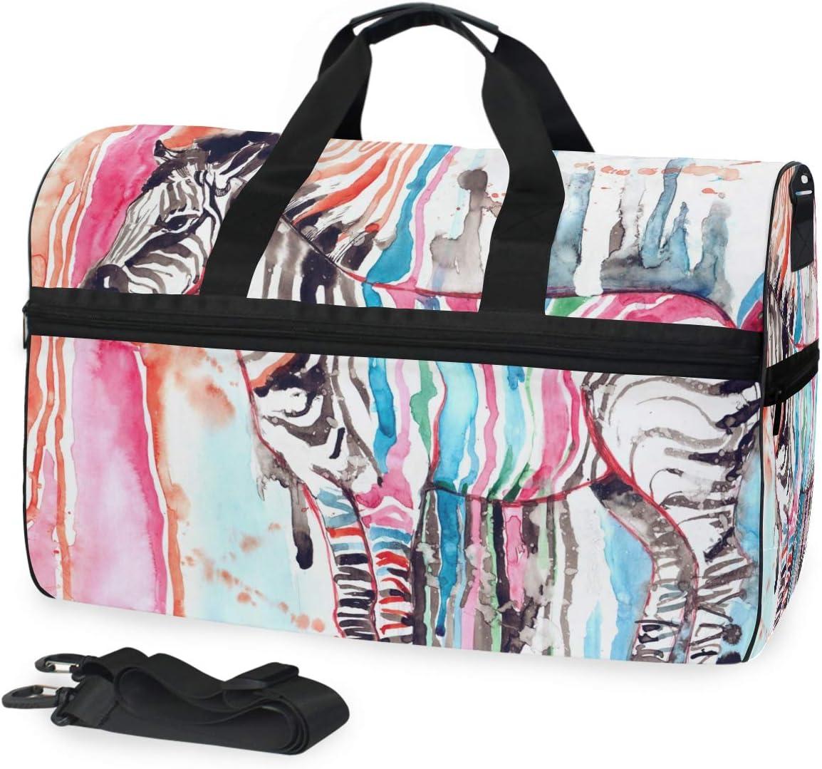 Travel Duffels Zebra Watercolor Duffle Bag Luggage Sports Gym for Women /& Men