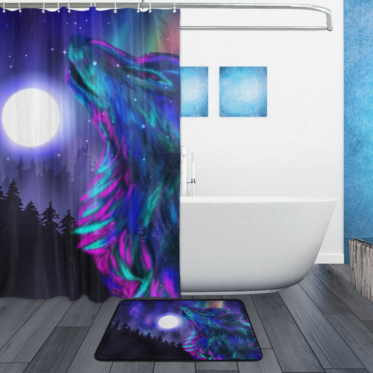 BAIHUISHOP Tree Wolf Moon Night 3-Piece Bathroom Set, Machine Washable for Everyday Use,Includes 60x72 Inch Waterproof Shower Curtain, 12 Shower Hooks and 1 Non-slip Bathroom Rug Carpet - Set of 3 by baihuishop (Image #2)
