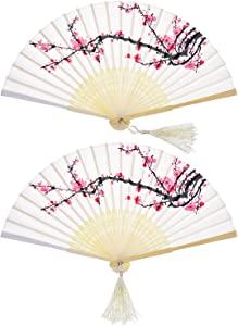 2 Pieces Folding Fans Handheld Fans Bamboo Fans with Tassel Women's Hollowed Bamboo Hand Holding Fans for Wall Decoration, Gifts (White Cherry)
