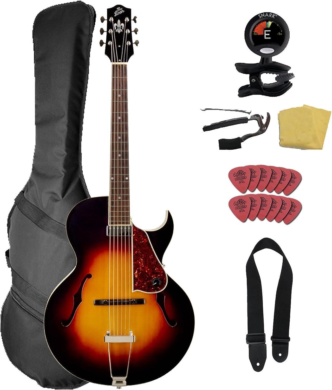 La Loar lh-350-vs tallada a mano Archtop guitarra Bundle con Gig ...