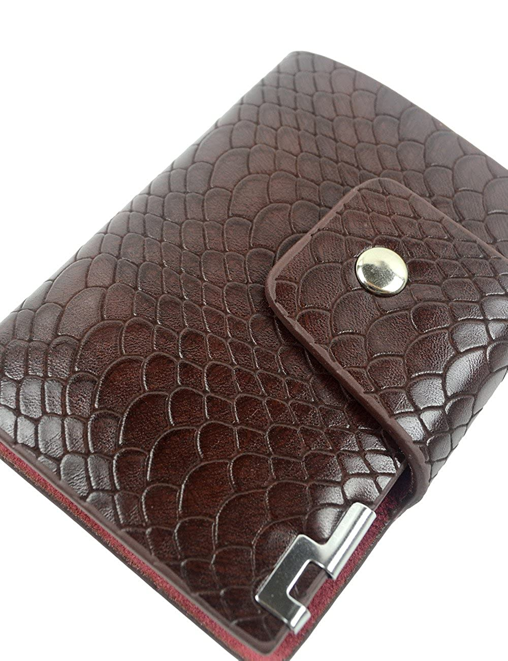 POPUCT Mens Snakeskin Texture Credit Card Holder Business Card Case Purse Wallet with 26 Card Slots