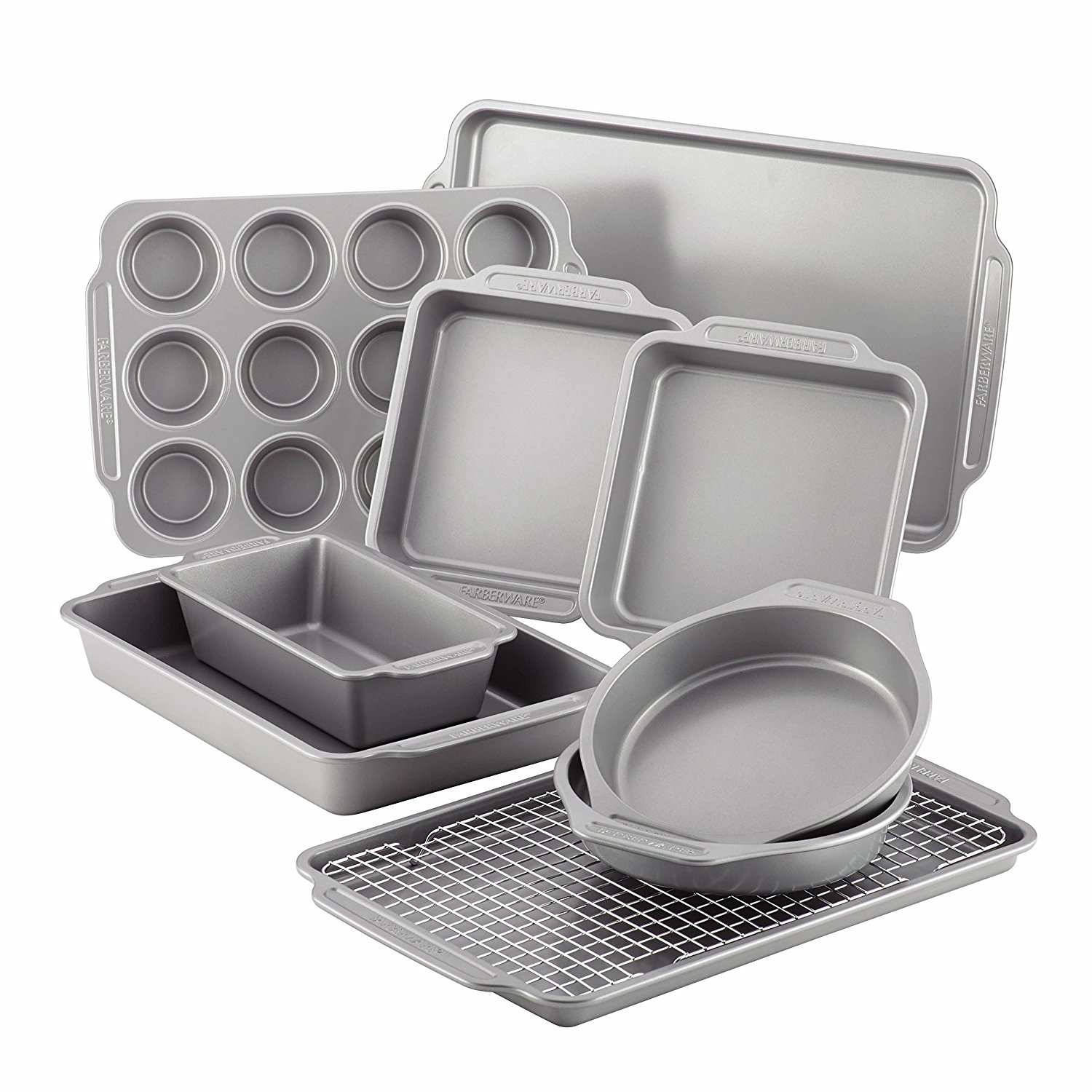 Farberware Nonstick Bakeware 10-Piece Set with Cooling Rack, Gray 46650