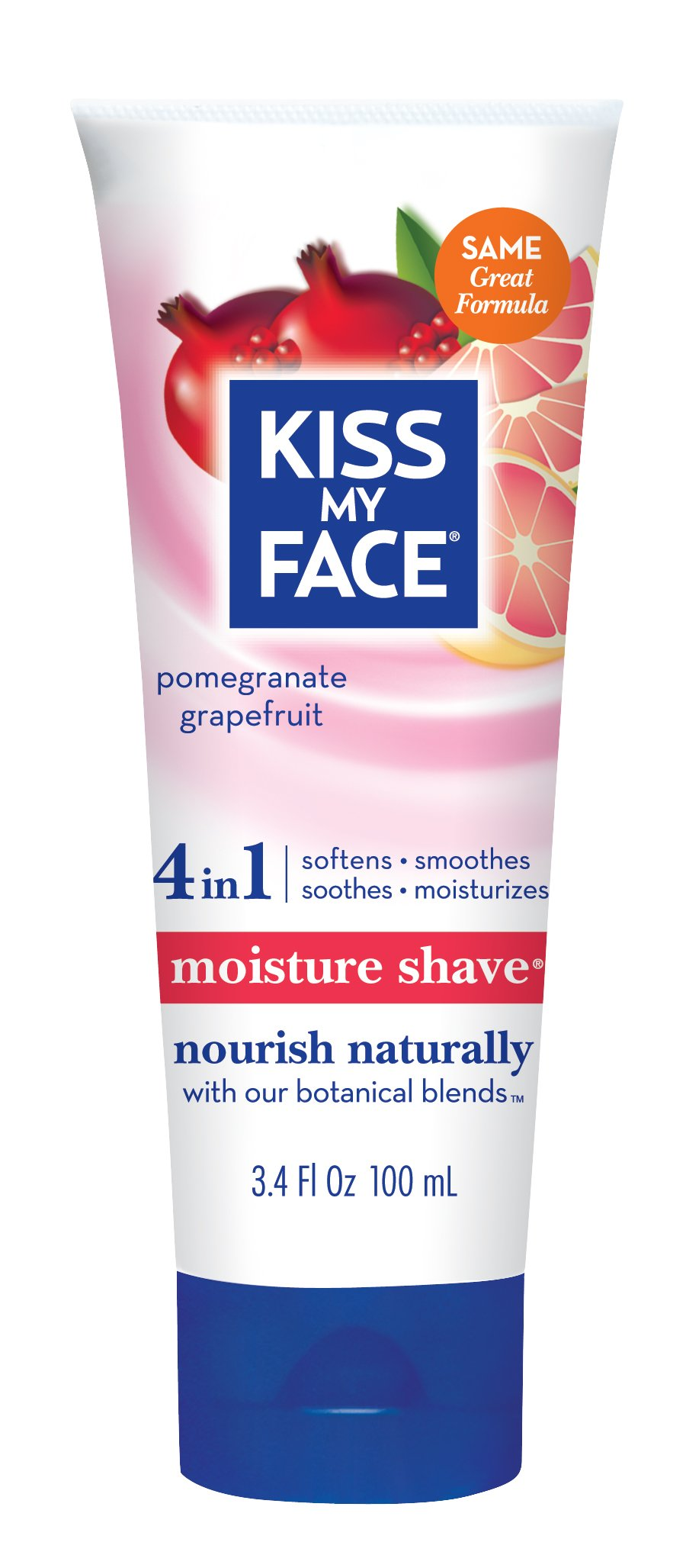 Kiss My Face Moisture Shave Shaving Cream, Pomegranate Grapefruit, 3.4 Ounce Travel Size