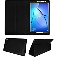 Fastway Tablet Flip Flap Case for Honor Media Pad T3 Front and Back Cover (Black)