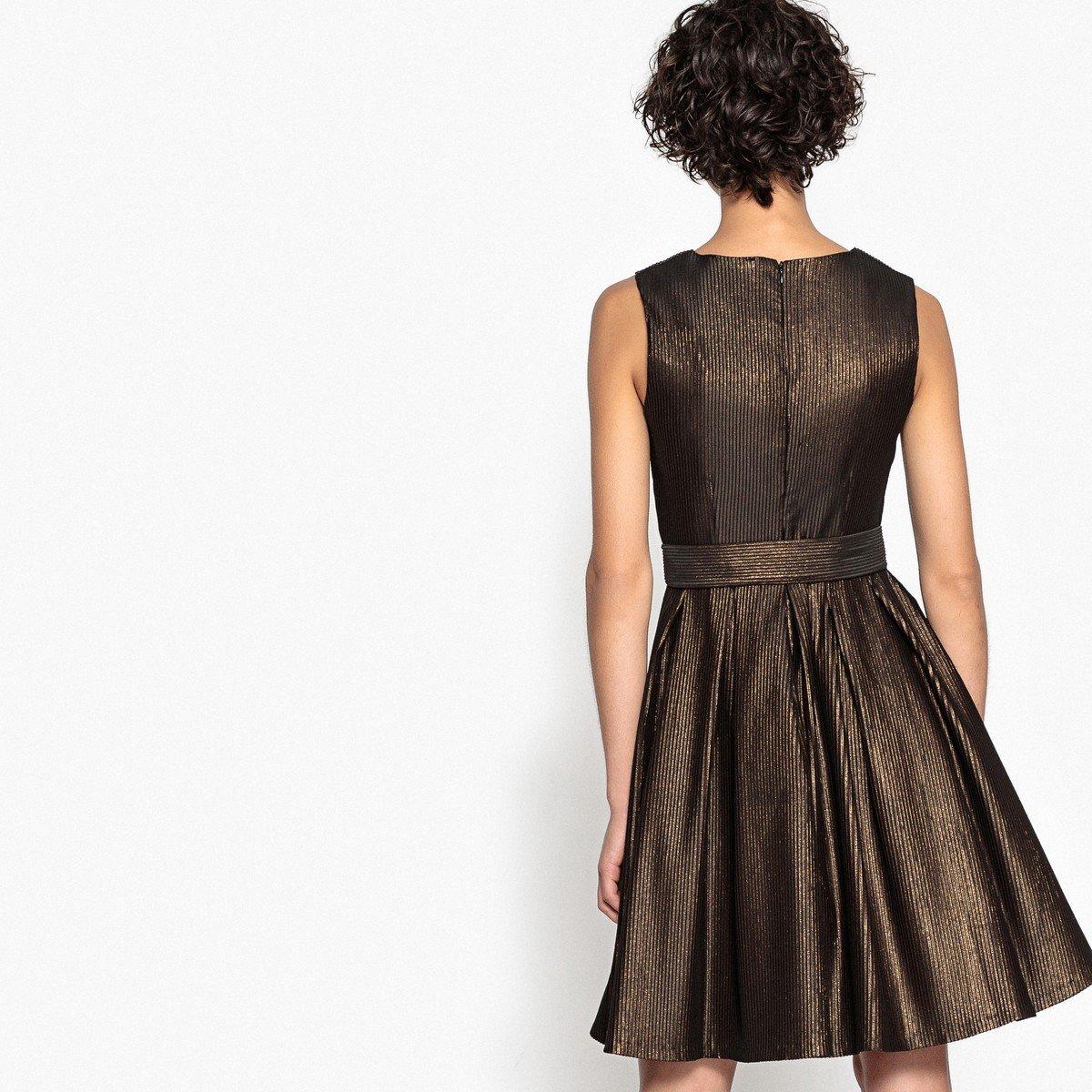 La Redoute Mademoiselle R para Mujer Vestido de Jacquard con cinturón Bronce 50: Amazon.es: Ropa y accesorios