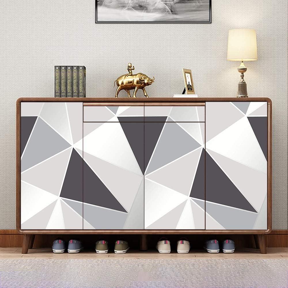 Papel Adhesivo para Muebles Triángulo Gris 45cm X 2m Papel Pintado Vinilo Pegatina Para Muebles Cocina Decorativa Autoadhesivo