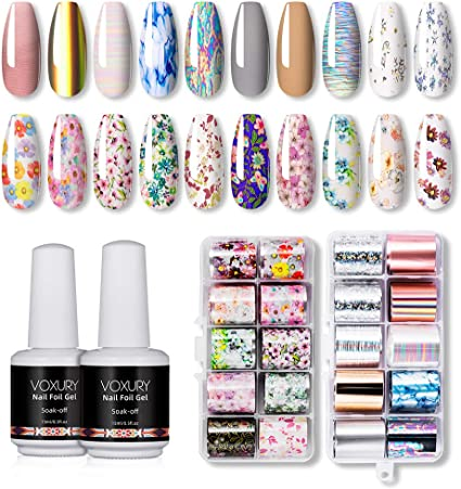 Amazon Com Voxury Nail Art Foil Glue Gel For Flower Foil Stickers Set Nail Transfer Foil Kit Manicure Diy 2pcs 15ml Nail Foil Glue 20pcs Nail Stickers Uv Led Lamp Required Arts Crafts Sewing